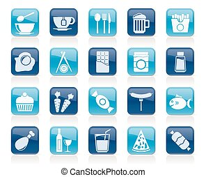 Different king of food and drinks icons 1 - vector icon set
