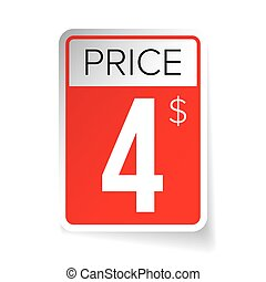 Price Tag vector sticker - Four usd