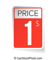 Price Tag vector sticker - One usd