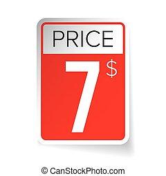 Price Tag vector sticker - Seven usd