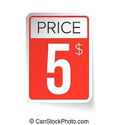 Price Tag vector sticker - Five usd