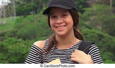 Happy Female Teen Student