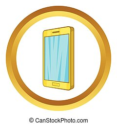 Smartphone vector icon in golden circle, cartoon style...