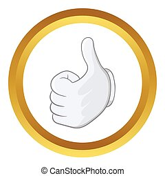 Thumbs up vector icon in golden circle, cartoon style...
