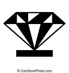 Diamond on a pedestal icon, simple style - Diamond on a...