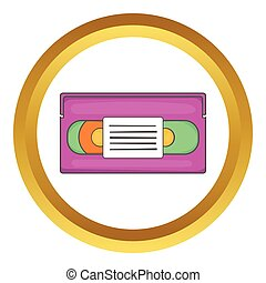 Video cassette vector icon in golden circle, cartoon style...