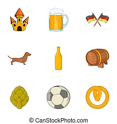 Country of Germany icons set, cartoon style - Country of...