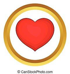 Red heart vector icon in golden circle, cartoon style...