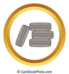 Pile of black tires vector icon in golden circle, cartoon...