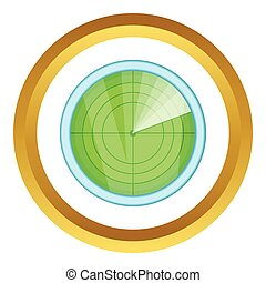 Radar vector icon in golden circle, cartoon style isolated...