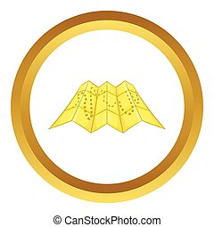 Road map vector icon in golden circle, cartoon style...