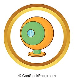 Webcam vector icon in golden circle, cartoon style isolated...