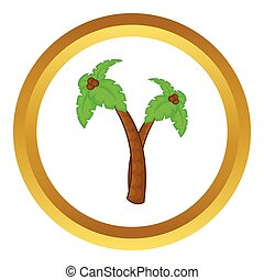 Palm tree with coconuts vector icon