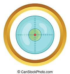 Optical sight vector icon in golden circle, cartoon style...