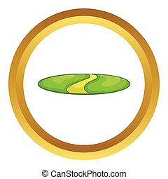 Country road vector icon in golden circle, cartoon style...