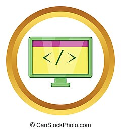 Monitor with sign left right vector icon in golden circle,...