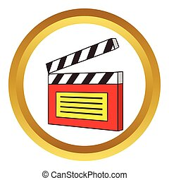 Clapperboard vector icon in golden circle, cartoon style...