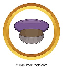 Cap vector icon in golden circle, cartoon style isolated on...