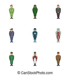 jogo, soldados, estilo, caricatura, ícones