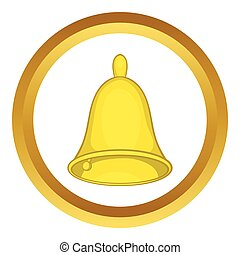 Golden hand bell vector icon in golden circle, cartoon style...