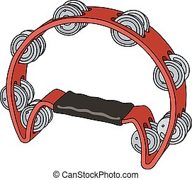 Classic red tambourine - Hand drawing of a red tambourine