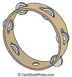 Simply wooden tambourine - Hand drawing of a simply wooden...
