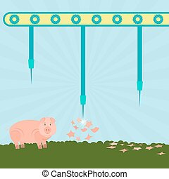 Needles exploding pigs - Machine with needles exploding pigs...