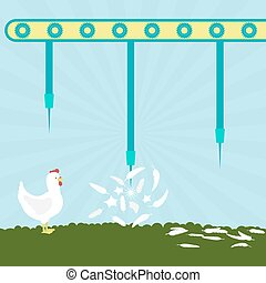 Needles exploding chickens - Machine with needles exploding...