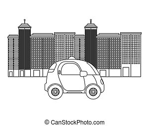 autonomous car design - silhouette of autonomous car vehicle...