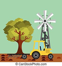 Tractor plowing earth - yellow Tractor plowing earth and...