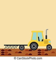 Tractor plowing earth - yellow Tractor plowing earth. farm...