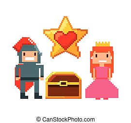 video game pixel design - princess and knight characters and...