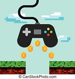 videogame control icon - videogame control over pixel...