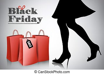 Shopping woman wearing red dress and high heel shoes with shopping bags. Vector illustration.
