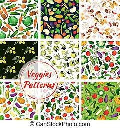 Vegetable, olive fruit, mushroom seamless pattern