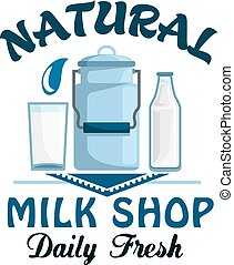 Natural milk, fresh farm dairy drink badge