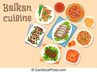 Balkan cuisine meat and vegetable dishes icon - Balkan...