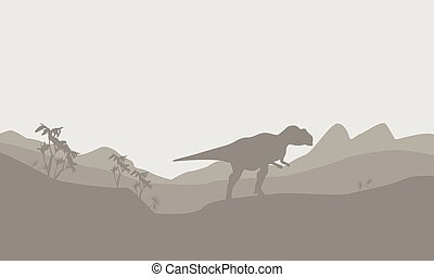 Silhouette of mapusaurus with fog