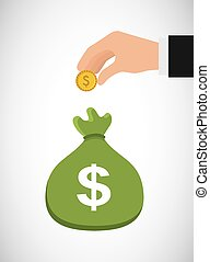 money sack icon - human hand with gold coin and green sack...