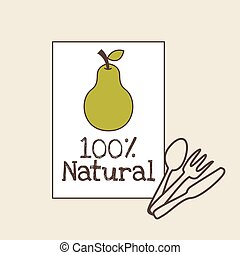 green pear icon - green pear fruit. 100 natural design....