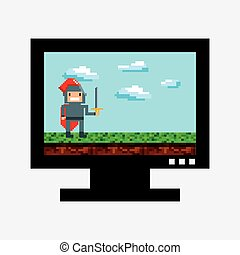 video game pixel design - tv with knight character with...