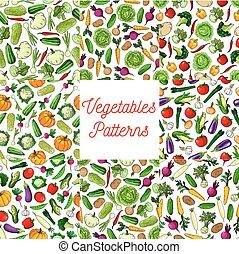 Vegetable, vegetarian food seamless pattern