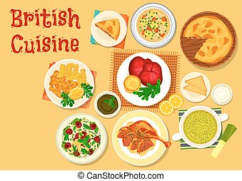 British cuisine fish and meat dishes icon - British cuisine...