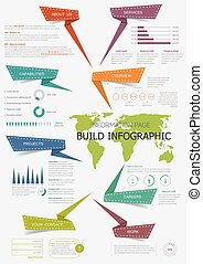 Infographic with world map for presentation design - Build...
