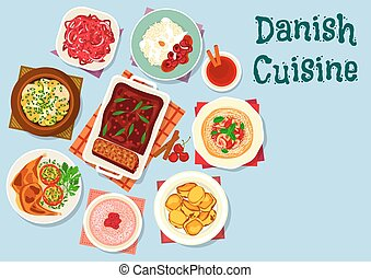 Danish and scandinavian cuisine dishes icon with fish...