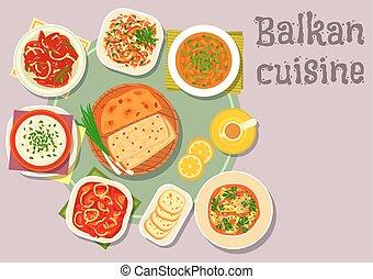 Balkan cuisine dishes for dinner menu design - Balkan...