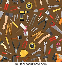 Work tool, repair instrument seamless pattern - Work tool,...