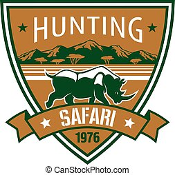 Hunting, safari heraldic badge with african rhino - Hunting...