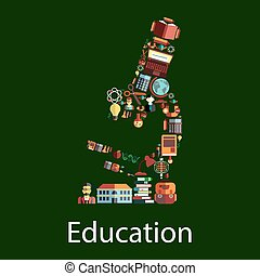 Microscope with education and school symbols