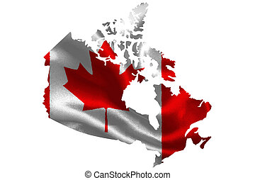 Map of Canada with national flag on fabric surface.